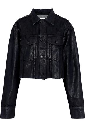 CURRENT/ELLIOTT The Cut-Off Boyfriend cropped coated-denim jacket