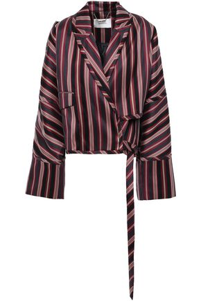 ZIMMERMANN Striped cotton-blend jacquard wrap blazer