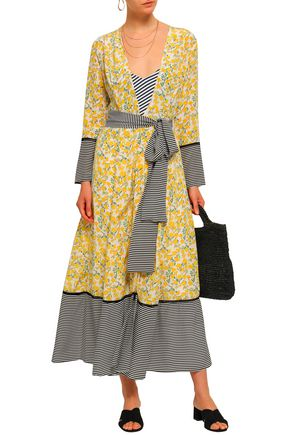 WE ARE LEONE Printed silk crepe de chine robe