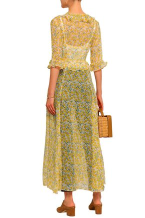 WE ARE LEONE Ruffle-trimmed floral-print silk-georgette robe