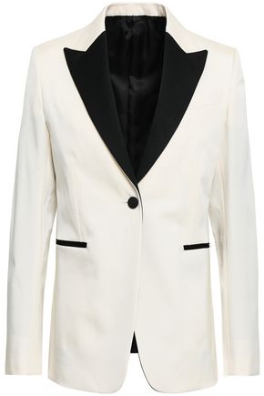 VALENTINO Satin-trimmed wool-blend twill blazer
