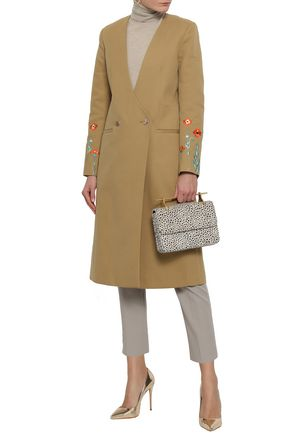 TEMPERLEY LONDON Creek double-breasted embroidered cotton-gabardine coat