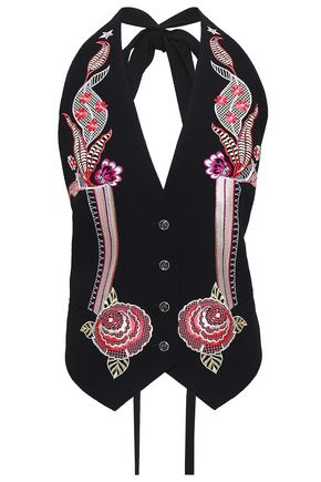 TEMPERLEY LONDON Embroidered crepe halterneck vest