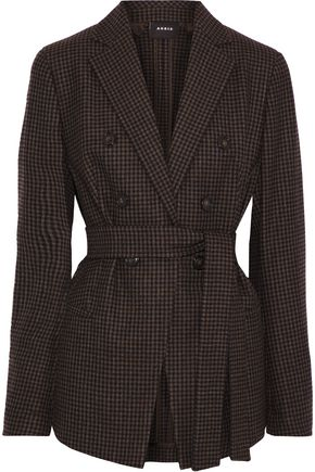 AKRIS Belted gingham stretch-wool blazer