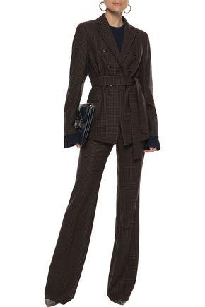 AKRIS Belted gingham stretch-wool blazer