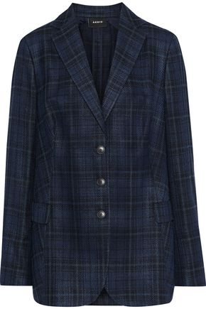 AKRIS Checked silk and cotton-blend twill blazer