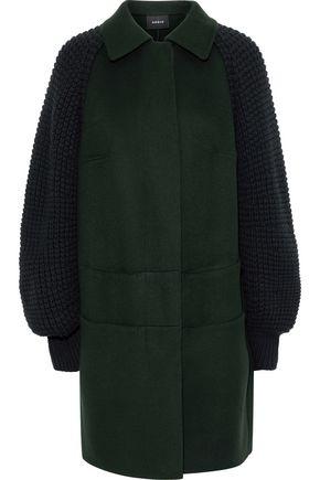 AKRIS Marais waffle knit-paneled cashmere coat