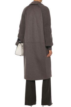 AKRIS Marabella waffle knit-paneled cashmere coat