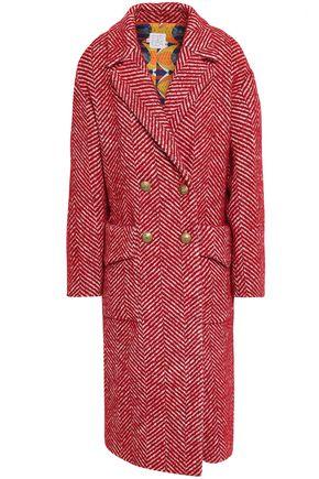 STELLA JEAN Double-breasted herringbone cotton-blend coat
