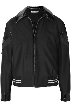 OPENING CEREMONY Faux patent leather-trimmed mesh-paneled striped twill jacket