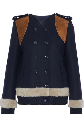 DEREK LAM Double-breasted suede-paneled wool and cashmere-blend felt jacket