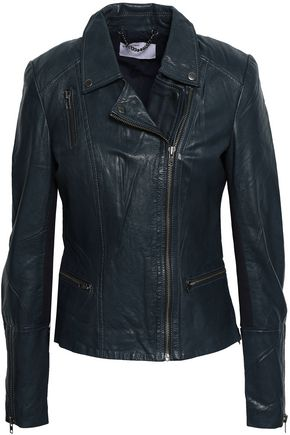 MUUBAA Ribbed knit-paneled leather biker jacket