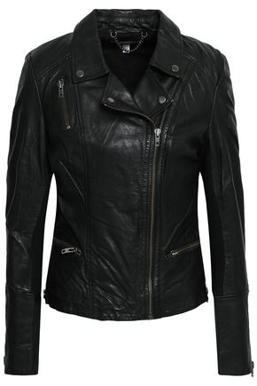MUUBAA Ribbed knit-paneled leather biker jacket