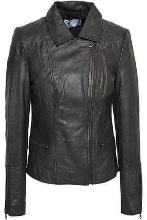 MUUBAA Almora zip-detailed crinkled-leather biker jacket