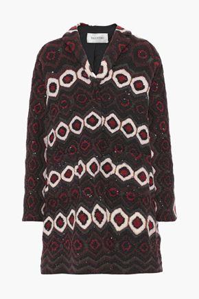 VALENTINO Sequin-embellished jacquard-knit coat