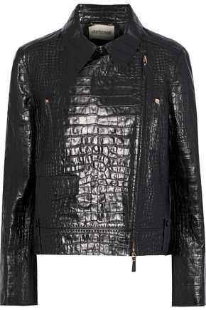 ROBERTO CAVALLI Croc-effect leather biker jacket