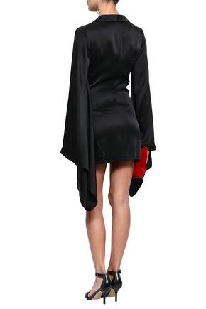 DE LA VALI ドレープ入り 装飾付き サテン ジャケット