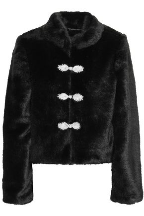 DE LA VALI Cropped button-embellished faux fur jacket