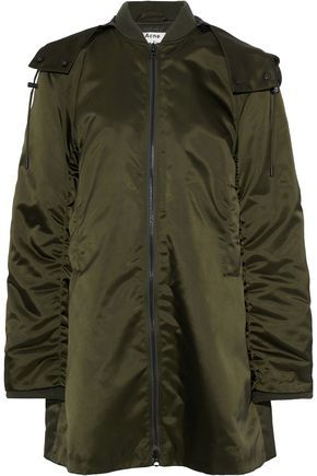 ACNE STUDIOS Lexi ruched satin hooded bomber jacket
