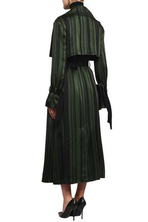 ADEAM Cape-effect striped satin trench coat