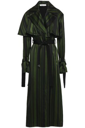 ADEAM Cape-effect striped satin trench coat