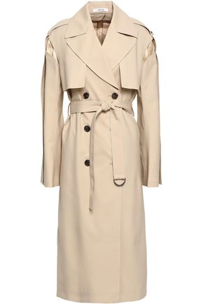 ADEAM Quilted satin-paneled wool-blend trench coat