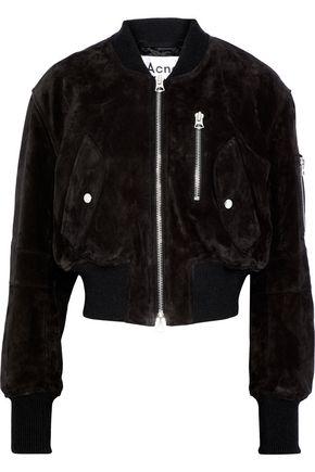 ACNE STUDIOS Saskia cropped suede bomber jacket