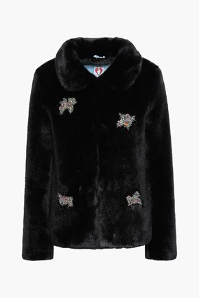 SHRIMPS Embellished faux fur coat