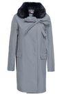 SHRIMPS Faux fur-trimmed gingham canvas coat