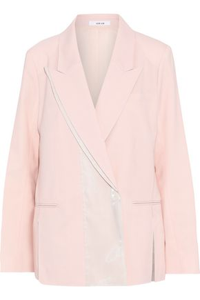 ADEAM Iridescent satin-paneled wool-blend blazer