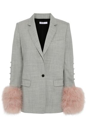 ADEAM Feather-embellished button-detailed wool-blend blazer