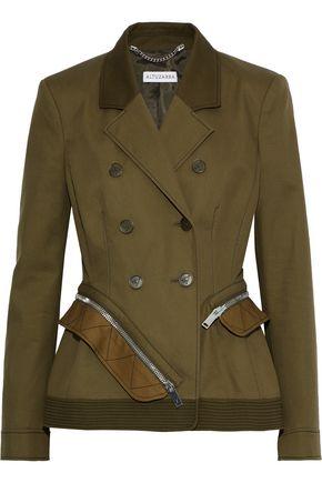 ALTUZARRA Double-breasted zip-detailed cotton-twill peplum blazer