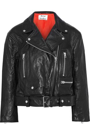 ACNE STUDIOS Merlyn crinkled-leather biker jacket