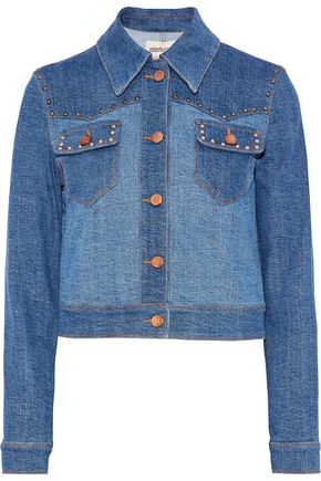 ROBERTO CAVALLI Two-tone embellished denim jacket