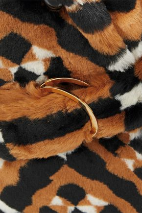 MARY KATRANTZOU Oates double-breasted printed faux fur coat