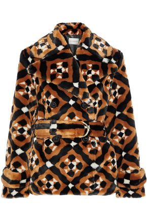 MARY KATRANTZOU Oates double-breasted printed faux fur coat