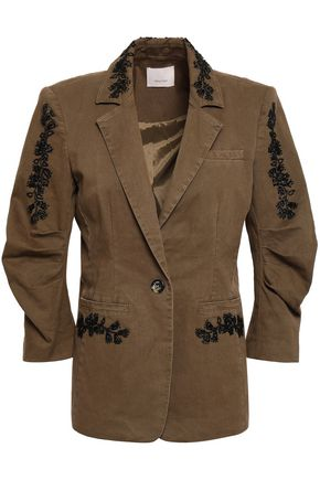 CINQ À SEPT Gathered embellished cotton-blend twill blazer