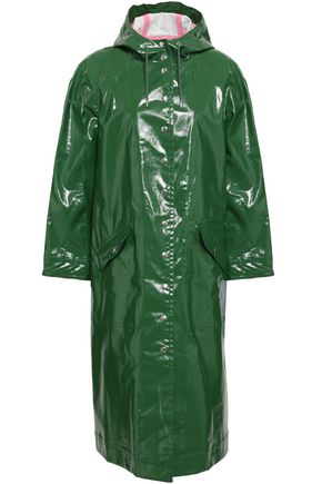 ALEXACHUNG Coated cotton-blend hooded raincoat