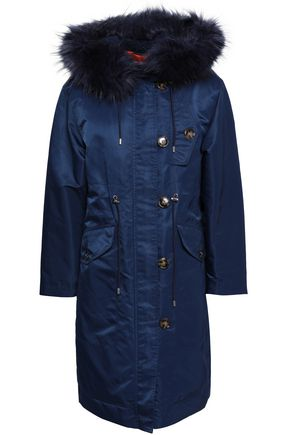ALEXACHUNG Faux fur-trimmed shell hooded down coat