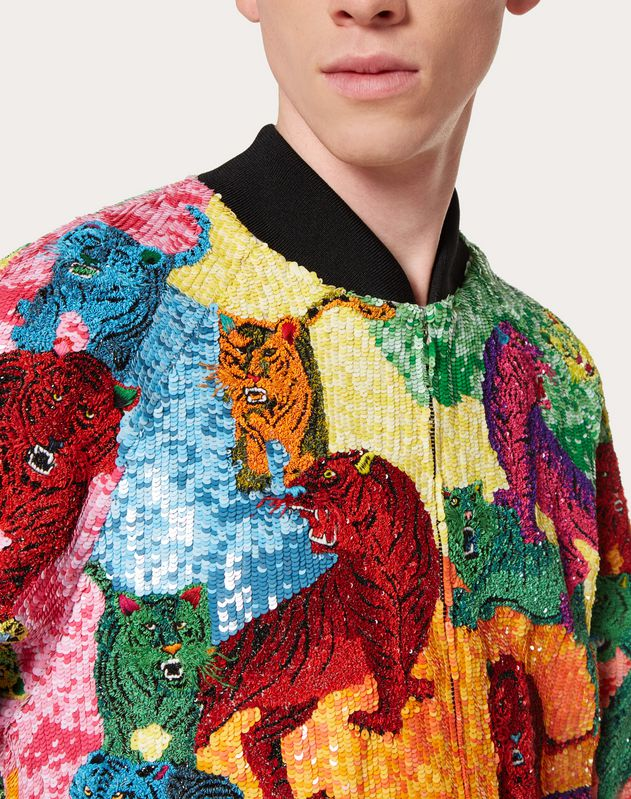 GO TIGER BLOUSON WITH MULTICOLOUR SEQUINS