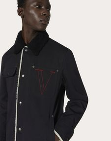 COTTON PEA COAT WITH EMBROIDERED V