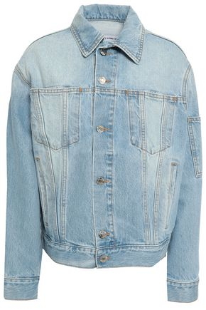 HELMUT LANG Fringed bead-embellished denim jacket