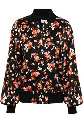 A.L.C. Floral-print stretch-silk bomber jacket