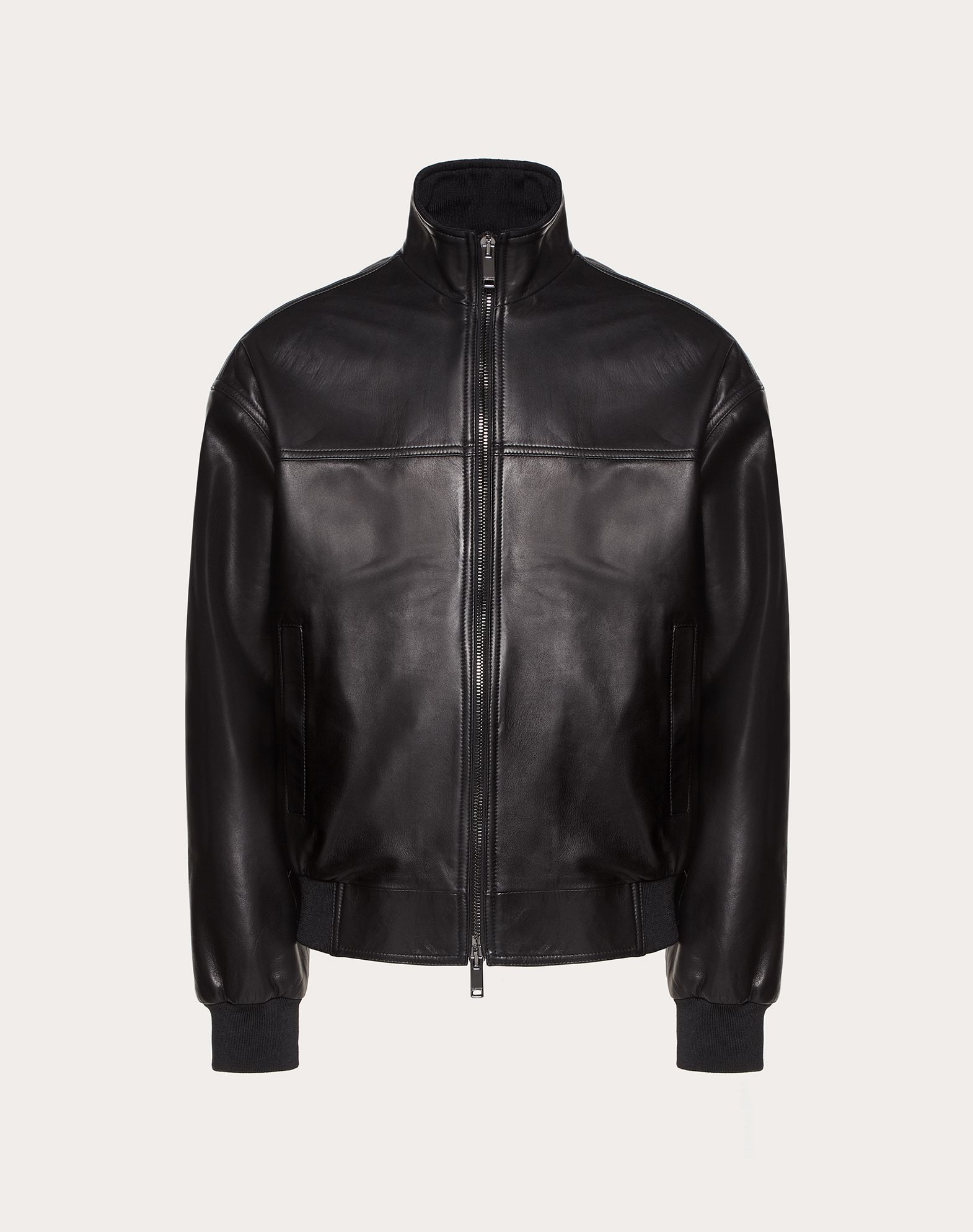 LEATHER BOMBER JACKET WITH VLTN LOGO