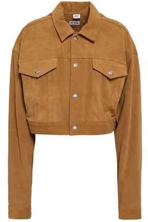 RE/DONE Cropped fringed suede jacket