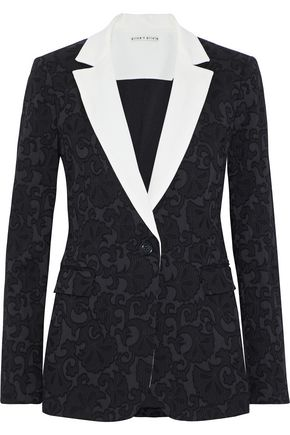 ALICE + OLIVIA Macey cady-trimmed cotton-blend brocade blazer