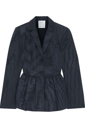 ROSIE ASSOULIN Silk and wool-blend moire peplum blazer