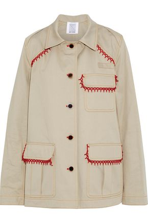 ROSIE ASSOULIN Oversized bead-embellished cotton-gabardine jacket