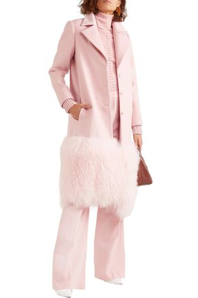 Lela Rose Coats LELA ROSE WOMAN SHEARLING-PANELED WOOL-FELT COAT BABY PINK