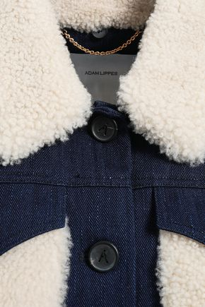 ADAM LIPPES Shearling-trimmed denim jacket